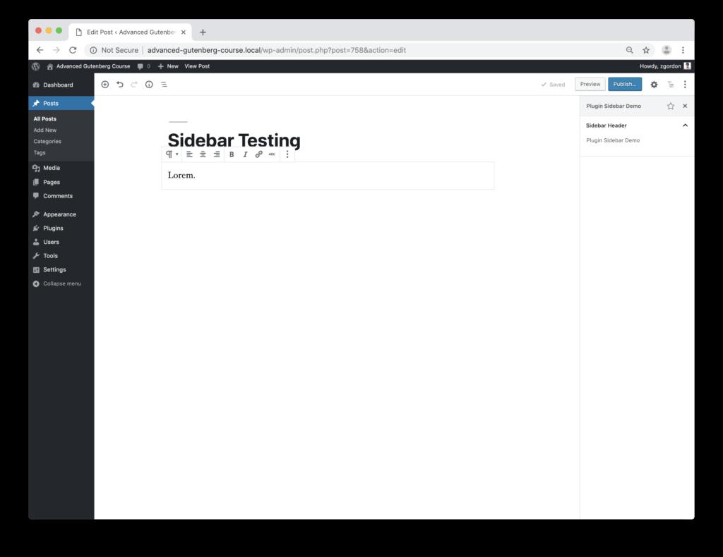 Screenshot of the WordPress block editor with a custom sidebar opened.
