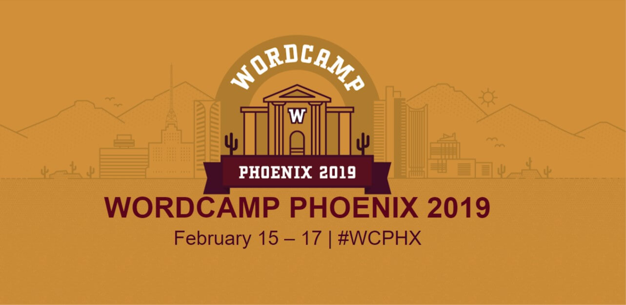 WordCamp Phoenix Banner with name of the camp and dates Feb 15-17. Illustration of library buildin