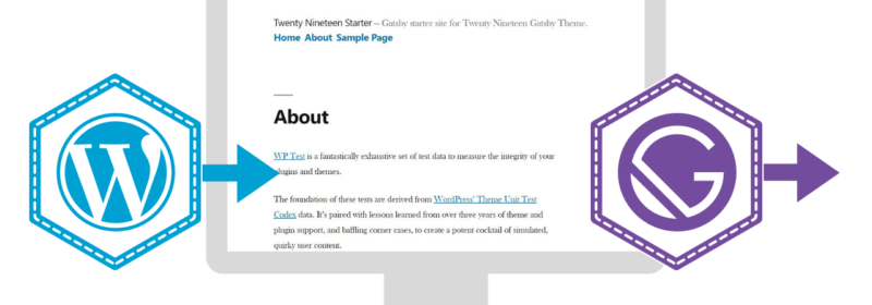 WordPress Logo and 2019 theme screenshot with the Gatsby logo. Arrows pointing from WP to theme to Gatsby